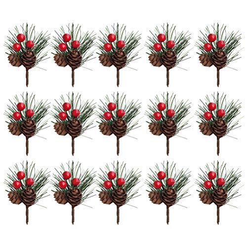 VOSAREA 24 Pezzi di Rami di Albero di Pino Artificiale di Natale con pigne realistiche Decorazioni Natalizie Ornamento Albero di Natale Ciondolo Appeso Artigianato Fai da Te