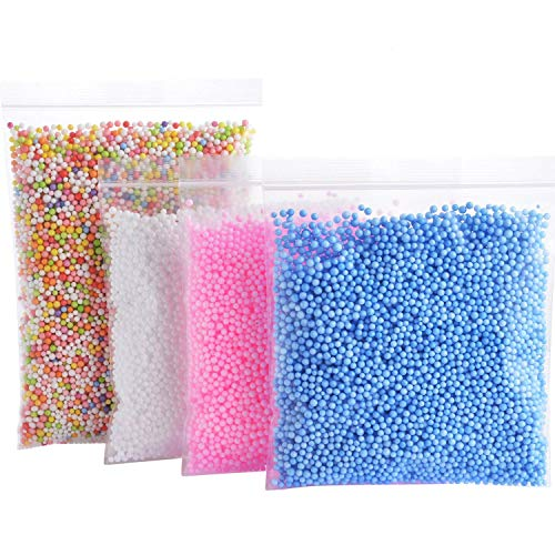 Foam Balls for Slime - Colorful Styrofoam Balls Beads Mini 0.1-0.18 inch ?30000 pcs?- Decorative Ball Arts DIY Crafts Supplies For Homemade Slime, Kids Craft, Wedding and Party Decoration (4 Pack)