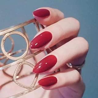 Milanco 24Pcs False Nails Colorful Full Cover Medium Nail Stiletto Shape Sharp Gel Fake Nails Art Tips Sets (Red)
