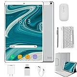 Tablet 10.1 Pulgadas 4G Android 10.0 Quad Core DUODUOGO P8 Tablet 4GB RAM 64GB ROM/128GB Escalables 8000mAh Dual SIM/Cámara Tablet PC Google GMS Netfilx OTG (Estándar + Teclado y Mouse, Plata)