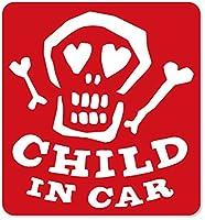 imoninn CHILD in car ステッカー 【マグネットタイプ】 No.31 ガイコツさん (赤色)