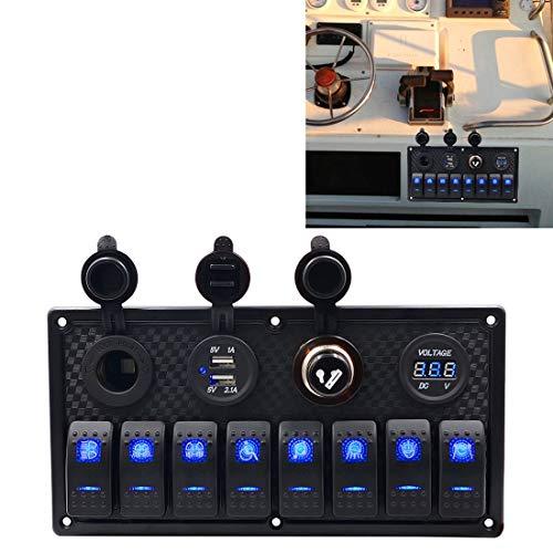 Panel de interruptores de 12v Multifunción Llave de luces del panel del voltímetro + encendedor de cigarrillos + Lights Doble 8 Vía Alterna, por coche rv marina del barco