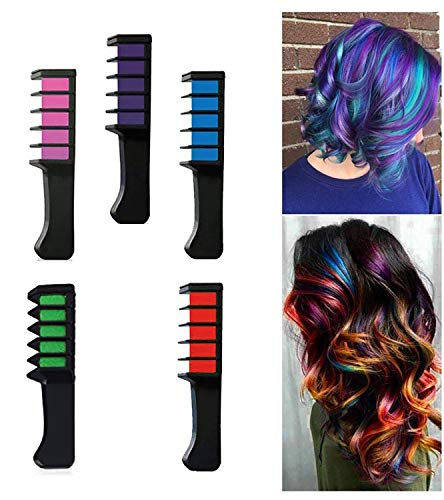Kabello 5 Pcs Hair Chalk Comb Set Temporary Color Non-Toxic Makeup Hair Coloring Chalk Comb DIY Dye Set for Teen Girls Multi 10 Grams Pack Of 1