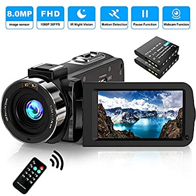 Video Camera Camcorder FHD 1080P 30FPS 36MP IR Night Vision YouTube Vlogging Camera Recorder 3.0'' 270 Degree Rotation IPS Screen 16X Digital Zoom Camcorder with Remote and 2 Batteries from Alsuoda
