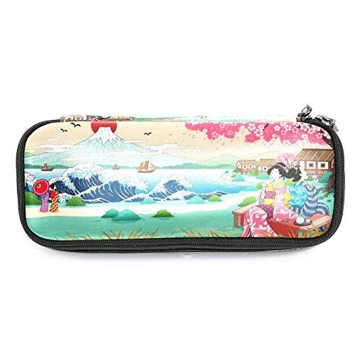 TIZORAX Federmäppchen mit japanischem Landschaftsmotiv, Stifthalter für Schule und Büro