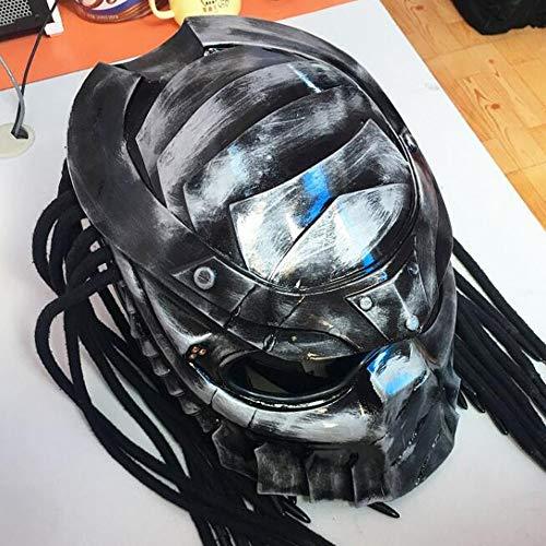 Smotly Motocross Casque, Jagged Guerrier Casque Alien Personal Predator Casque intégral Harley Motorcycle Vintage Casque Alternatif, Argent Carbone,M