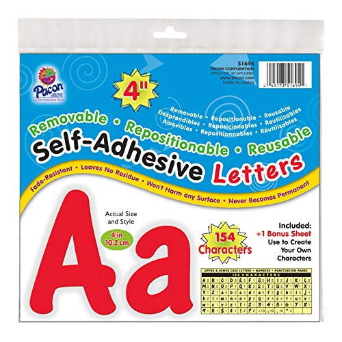 """Pacon Self-Adhesive Letters, Red, Cheery Font, 4"""", 154 Characters (51694)"""