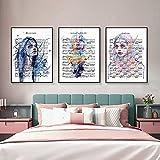 RTAGBFND Cuadros artísticos en acuarela Chica Partitura Pintura en lienzo Retrato Póster e impresiones Arte de pared nórdico para la decoración del hogar de la sala de estar40X60Cmx3 Sin marco