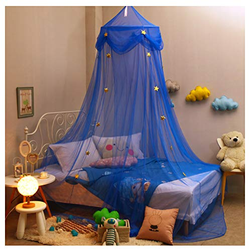 NYDECOR Mosquito Net Canopy Bed Curtains Dome Princess Stars Bed Tent for Girls Boys Kids, Indoor Game House(Blue)