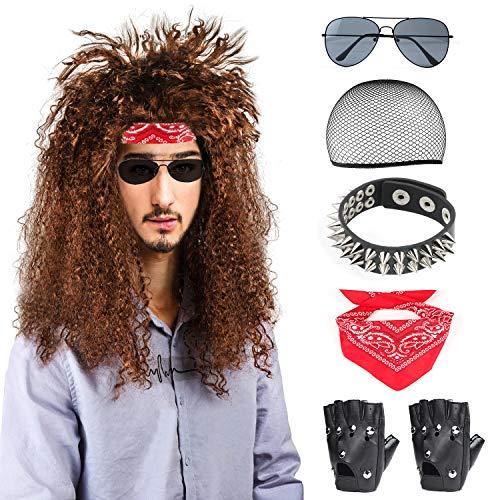 Beelittle 80s mannen heavy metal rock pruik punk disco halloween kostuum accessoires kit voor mannen (C)