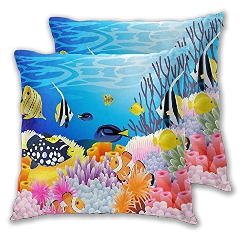 CANCAKA Juego de 2 Fundas de Cojín,Vida acuática con Diferentes Tipos de Peces Arrecifes de Coral y esponjas Tema de guardería Infantil,Decorativa Cuadrado Suave Funda de Almohada Sofá Sillas