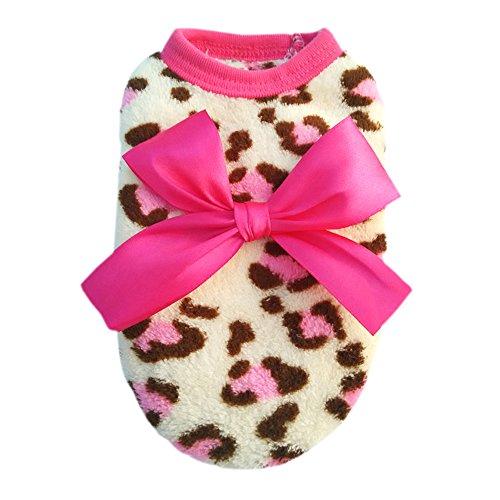 Pet Hund Katze Leopard Schleife Kleidung Coral Fleece Puppy Kleidung Bekleidung Kostüm