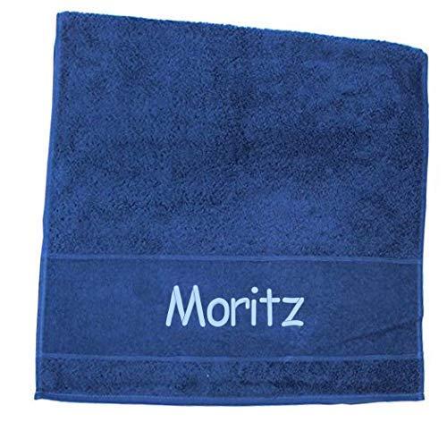 Premium Handtuch | Duschtuch | Saunatuch Porto aus Frottee, 500 g/m2 mit Namensbestickung | Bestickt mit Namen oder Wunschtext, Handtuchgröße:50 x 100 cm Handtuch, Handtuch Porto:Dunkelblau