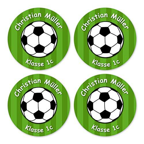 Papierdrachen 24 individuelle Aufkleber für Kinder - Motiv Fußball grün - personalisierte Sticker - Perfekt zur Einschulung - Geschenk für die Schule - Namensaufkleber und Schulbuchetiketten