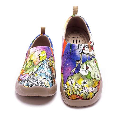 UIN Princess's Garden Damen Bequeme Fisch Reiseturnschuhe Mode gemalte Wanderschuhe Slip On Schuhe Canvas Violett(37)
