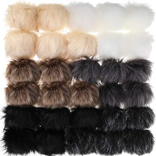 30 Pieces Faux Fur Pom Pom Balls DIY Faux Fur Fluffy Pom Pom with Elastic Loop for Hats Keychains Scarves Gloves Bags Accessories (Color Set 5)
