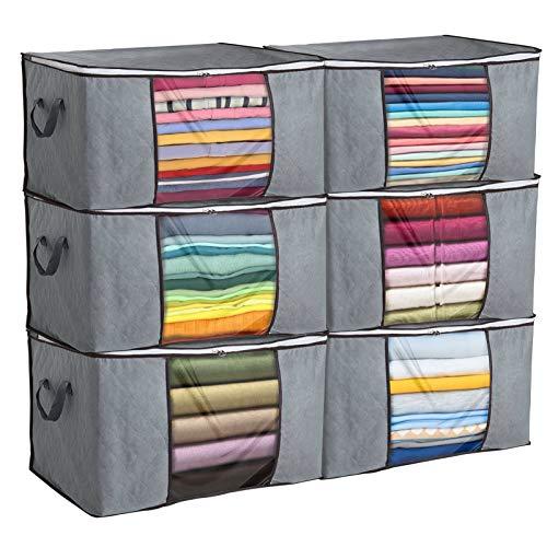 Giftgarden 6 Stück Aufbewahrungstasche für Kleidung, Bettwäsche und Decken mit durchsichtigem Fenster und Reißverschluss, 84L 60x40x35CM, Grau