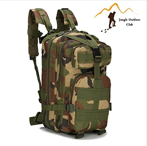 Jungle Field 3P Sac 30L Molle Attack Lot militaire Sac à dos randonnée Camping escalade loisir Cyclisme tactique Sac à dos, Jungle Camouflage