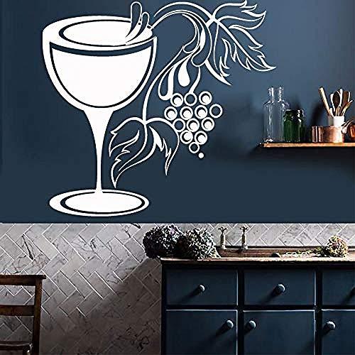 N-P Vidrio Uvas Tienda de vinos decoración de Cocina Pegatinas de Pared de Corte Vinilo Bar Club calcomanía película de Transferencia autoadhesiva Mural Papel Tapiz 62X57Cm