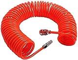 Manguera Neumática 1/5'' 10 Bares Aire Comprimido PU Manguera en espiral Tubo espiral compresor 6M Rojo para compresor de aire Accesorios de bomba de aire poliuretano semiprofesional