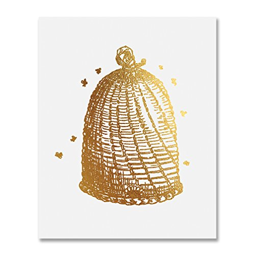 Vintage Beehive Gold Foil Decor Bees Wall Art Sketch Bee Hive Print Sign Metallic Poster 8 inches x 10 inches