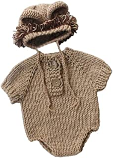 Newborn Photography Props Baby Photo Outfits Crochet Kintted Lion Hat with Body Clothes Sets Brown