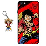 Funda iPhone 6 / iPhone 6s One Piece Anime Diseño [con One Piece Figura Llavero] Silicona TPU Cover Caso Dibujos Animados Carcasa para iPhone 6 / iPhone 6s