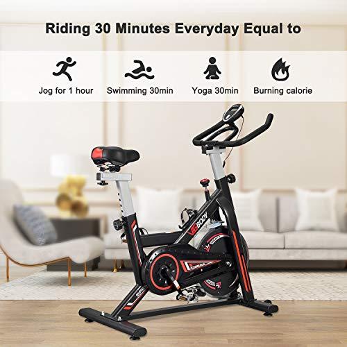 VIGBODY Stationary Bike Exercise Bike Belt Drive Indoor Cycling Bike for Home Cardio Workout Bike Heavy Duty Flywheel Bicycles
