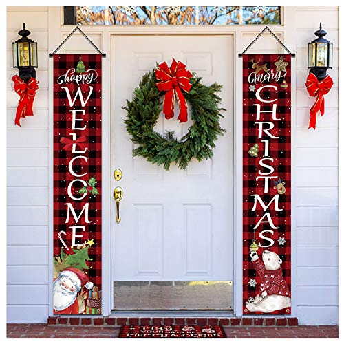 Morigins Merry Christmas Porch Sign Welcome Winter Hanging Banner Flag for Home Yard Party Decoration 12 x 71 Inch
