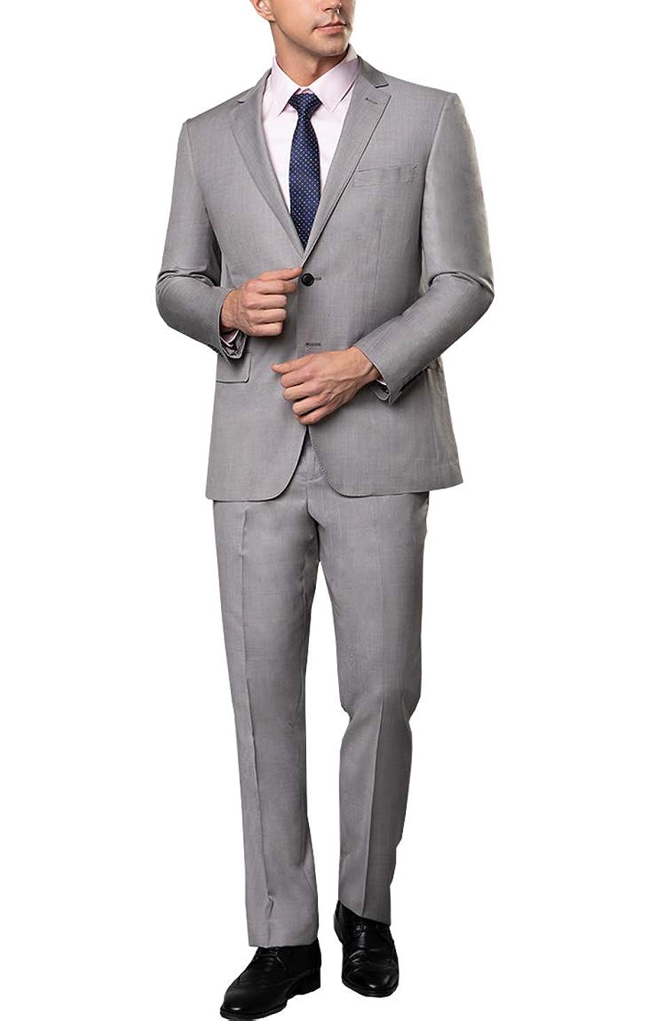 こする甥人物メンズスーツ 上下セット ビジネススーツ 2ツボタン 大きいサイズ 結婚式 礼服 就職スーツ オールシーズン