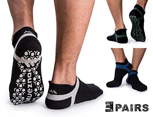 Muezna Non Slip Men's Yoga Socks, Anti-Skid Pilates, Barre, Bikram Fitness Hospital Socks with Grips (3 Pairs)