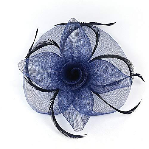 Veil Hoed Bruiloft Headdress Bow-Tie-Haired Banket Jurk Mesh Jurk Hoed Blauw