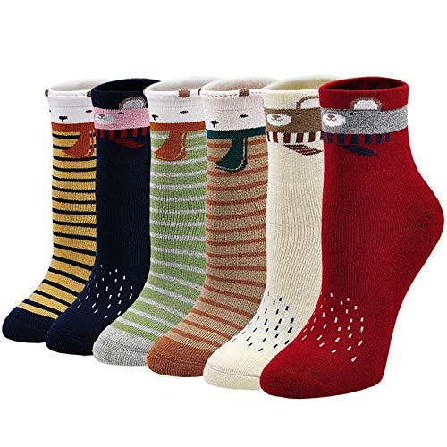 Dicke Socken Kinder Bunte Socken aus Baumwolle, warme Winter Socken Kinder Thermosocken Kleinkind Jungen Mädchen Lustige Socken Thermo Tier Socken, 8-11 Jahre, 6 Paare
