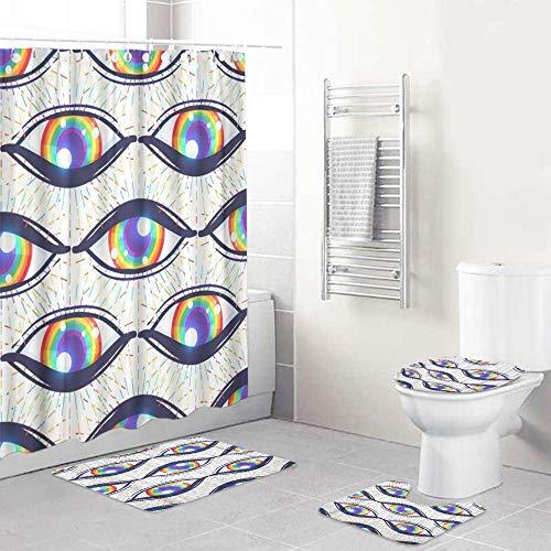 LISUMAL Duschvorhang Teppich Mat Vier teiliges,Bunt mit Regenbogen farbigen Augen Flagge der LGBT Gemeinschaft innerhalb Augapfel hell,Badezimmer Mat Set Soft Home Mat Modernes Design Non Slip Teppich