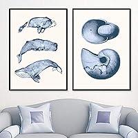 化石カタツムリクジラヴィンテージウォールアートキャンバス絵画北欧のポスターとリビングルームの家の装飾のための壁の写真を印刷| 40x60cmx2-フレームなし