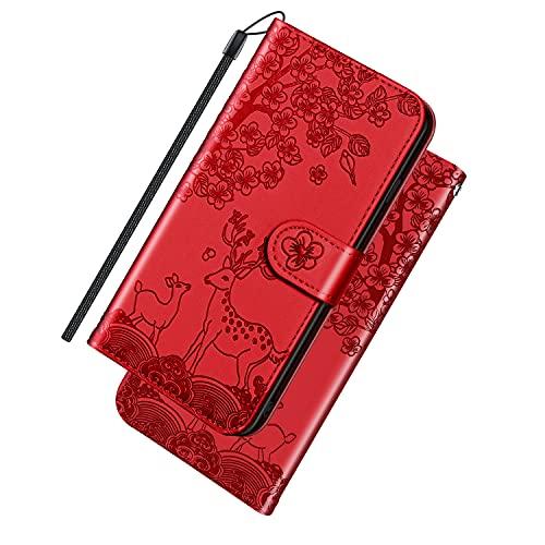 ONETHEFUL Handyhülle Tasche Book Cover für Samsung Galaxy A12 5G Hülle Kunstleder Klappbar Flip Phone Hülle Sika Rotwild Brieftasche Huelle Etui mit Ständer Rot
