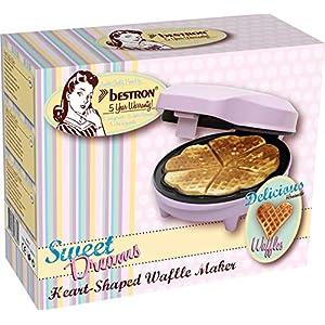 Bestron Waffeleisen für klassische Herzwaffeln, Retro Design, Sweet Dreams, 700 Watt, Rosa