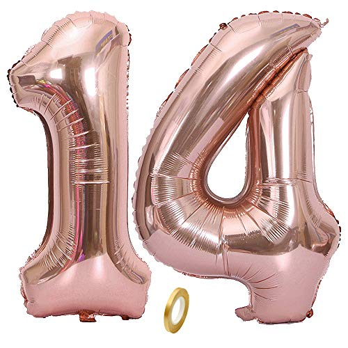 Jurxy Geburtstag Folienballon Helium Folie Luftballons Roségold Anzahl Luftballons Zahl für Geburtstag Jubiläum 40 Zoll - Roségold 14