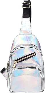 Danse Jupe Women Holographic Patent Leather Sling Chest Bag Shoulder Backpack,White