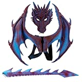 Party Cosplay Mask for Adults Kids Masquerade Costumes Horrible Dragon Mask Wings Tail Halloween Costume Set (Purple)