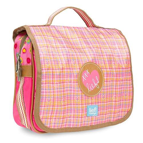 Toilettas á 32 x 25 x 6,5 cm | met spiegel + haak + veel vakken | Roze Roze Brown Kleurrijke harten strepen opvouwbare toilettas om op te hangen wastas reistas make-up tas kinderen meisjes