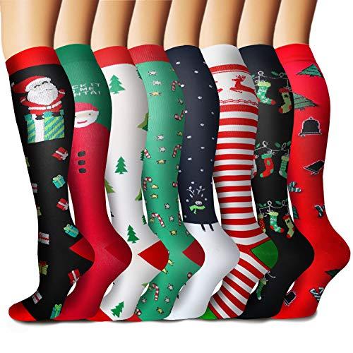 8 Pairs Medical Copper Compression Socks for Women&Men Circulation-15-20mmHg (06 Christmas, Small-Medium)