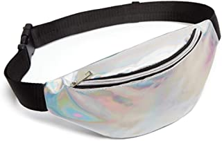 YWSCXMY-AU Sequin Women Waist Bag Fanny Pack Running Zip Belt Money Pouch Holiday Bag (Color : Silver)