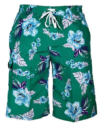 Unbekannt E&F D-4-01 Short de bain pour homme Motif fleurs Multicolore - Vert - Medium