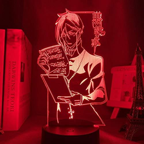 Creativo 16 colores, Día de San Valentín Anime Luz Negro Mayordomo LED Dormitorio Decoración Noche Luz Colorida Noche Anime Regalo 3D Luz Negro Mayordomo ERJIE