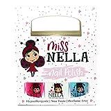 Miss Nella PARTY COLLECTION 3- Paquete de 3 esmaltes de uñas a base de agua, peel off, sin olor y seguro por los niños- Blue The Candles (azul), Confetti Clouds (clara) & Marshmallow Overloud (coral)
