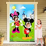 BeYumi Mickey Minnie Photo Door Banner Backdrop Props, Large Fabric Photo Background for Mickey Minnie Theme Party Decoration, Funny Pretend Play Game Party Supplies, 57.8 x 38 Inch