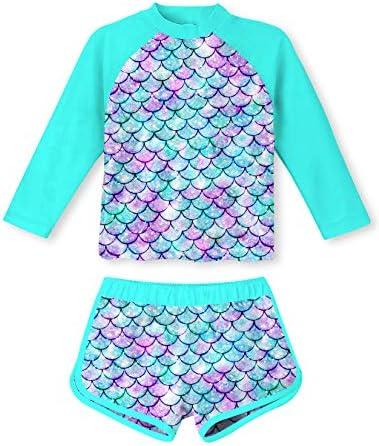 Girls Rash Guard 2 Piece Swimsuit Set Teens 9 10 Yrs Old Mermaid Printed O Neck Long Sleeve product image