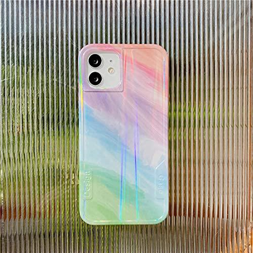 Custodia per telefono sfumata laser colorata per iPhone 11 Pro Max 12 Mini 7 8 Plus X XR XS SE 2020 Cover posteriore protettiva morbida, b, per iPhone 7 Plus