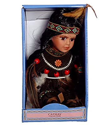 """Cathay Collections 6"""" Native American/Indian Princess Porcelain Doll"""